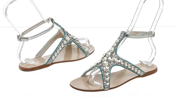 Miu Miu Sliver Blue Crystal-Embellished Starfish Thong Sandals Size 36
