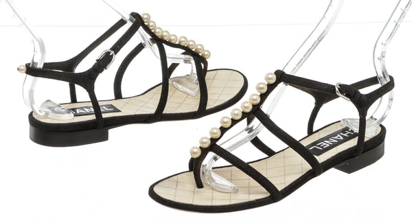 Chanel Black Leather Pearl T-Strap Flat Sandals Size 36.5