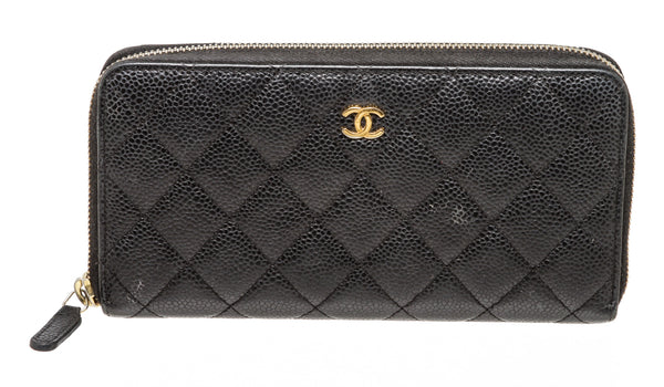 Chanel Black Caviar Zip Around Wallet