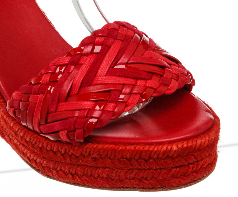 Hermes Red Braided Leather Sofia Espadrille Wedges Size 37 NEW