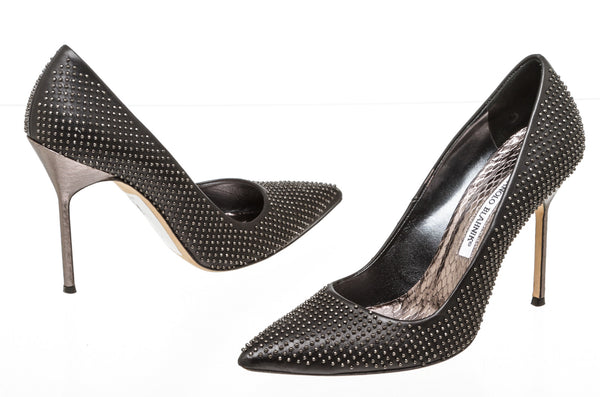 Manolo Blahnik Black Leather Studded Pointed Pumps SHW Size 38