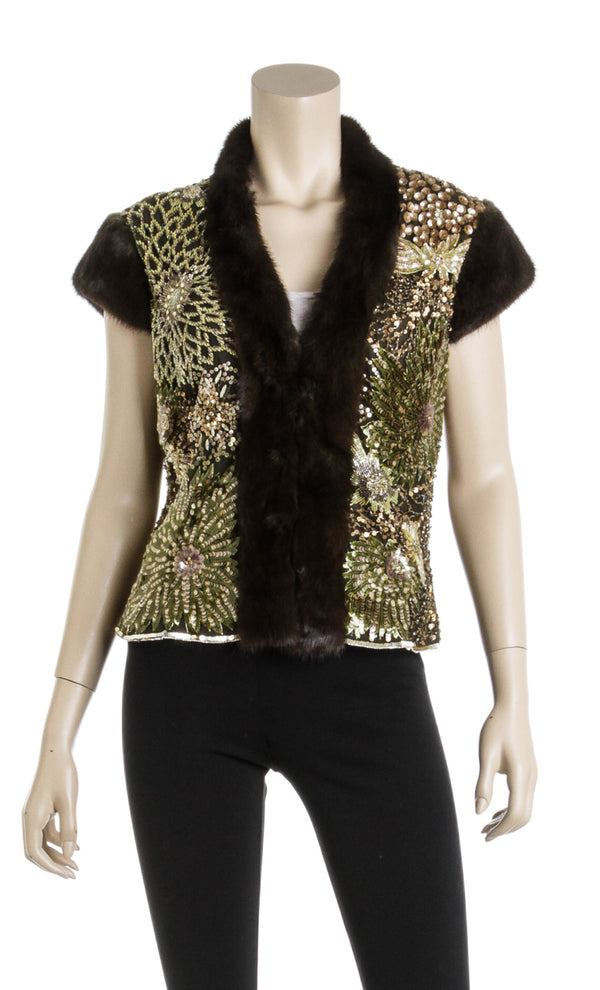 Escada Embellished Mink Vintage Short Sleeve Jacket Vest Size 38