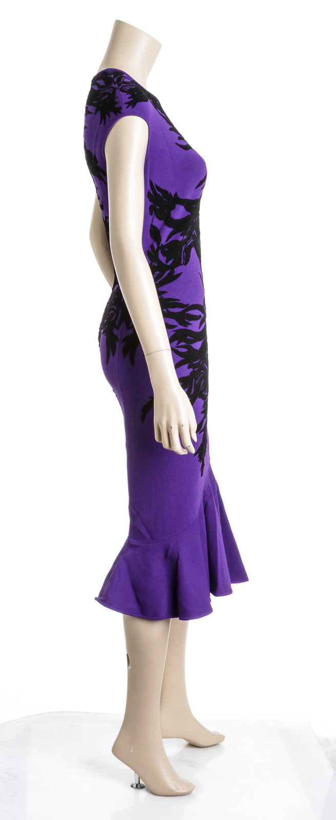 Alexander McQueen Purple Black Body-con Maxi Flared Dress Size M