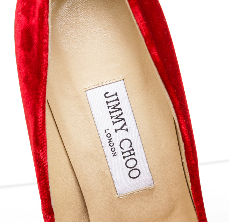 Jimmy Choo Red Velvet Anouk Pointed Pumps Size 38