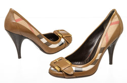 Burberry Brown Leather And Novacheck Canvas Buckle Pumps Size 39