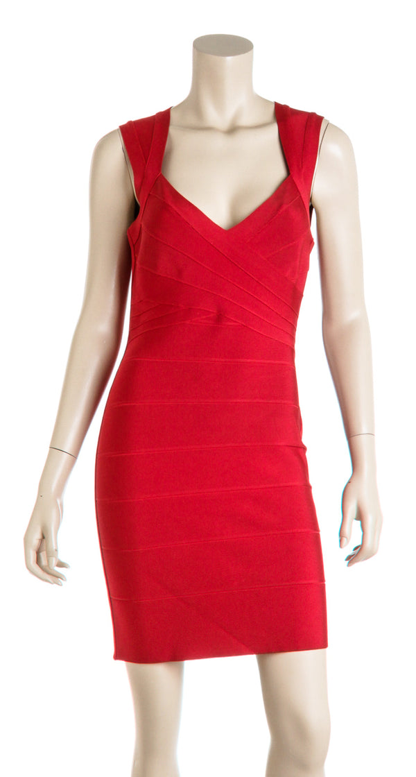 Herve Leger Red Cross-Bust Open-Back Bandage Dress Size L
