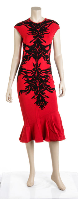 Alexander McQueen Red Black Body-con Maxi Flared Dress Size M
