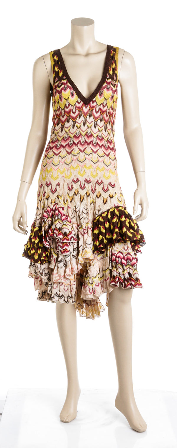 Missoni Multicolor Knit Pattern Maxi Flare Deep V Neck Dress Size 40