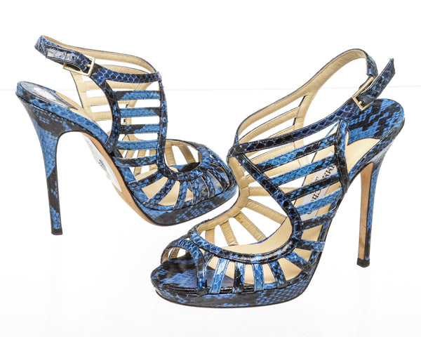 Jimmy Choo Blue And Black Keenan Water-snake Sandals Size 37.5