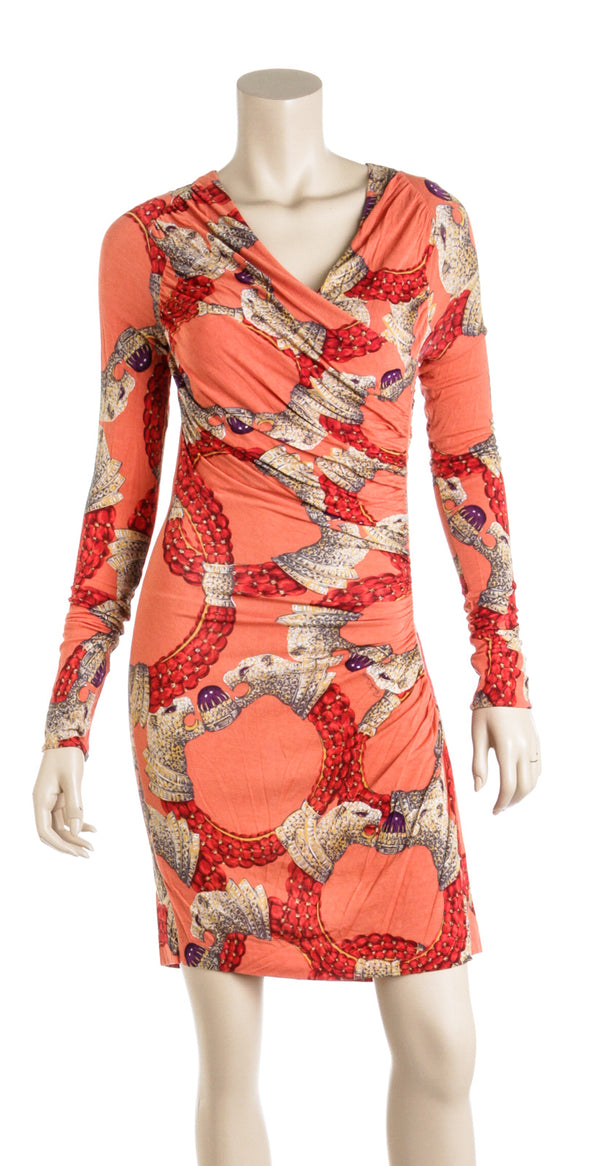 Roberta Cavalli Orange And Gold Animal Print V Neck Jersey Dress