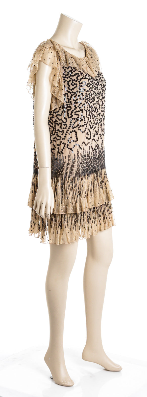 Red Valentino Nude And Black Mesh Sequin Ruffle Neckline Dress Size 10