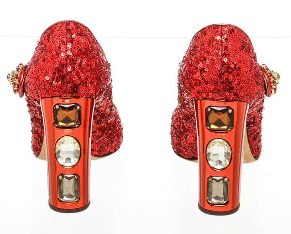 Dolce & Gabbana Red Sequin Mary Jane Pumps Size 40