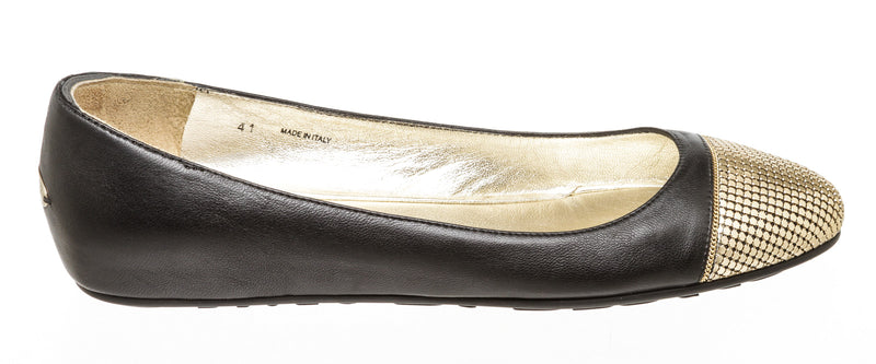 Jimmy Choo Black Gold Leather Waine Chain Cap Toe Ballet Flat Shoes Size 41
