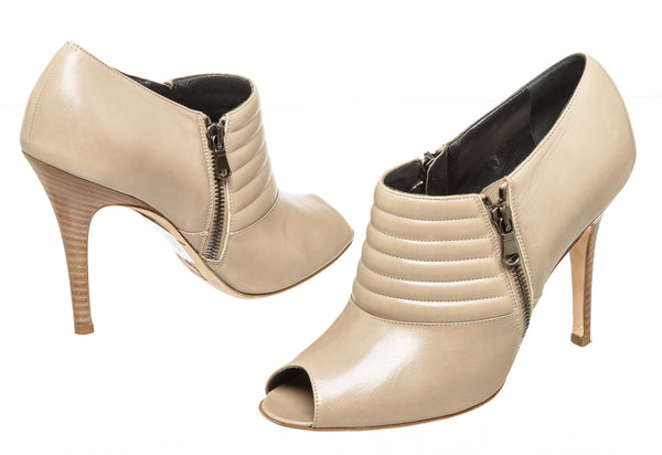 Manolo Blahnik Taupe Leather Peep Toe Booties Size 38