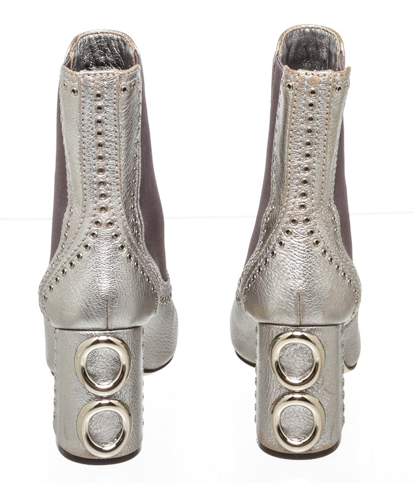 Miu Miu Silver Leather Studded Ankle Bootie SHW Size 37
