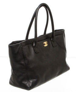 Chanel Black Calfskin Leather Cerf Executive Shopper Tote GHW