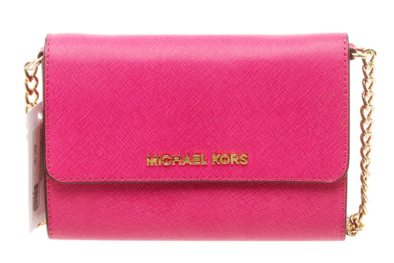 Michael Kors Pink Jet Set Saffiano Leather Crossbody Handbag
