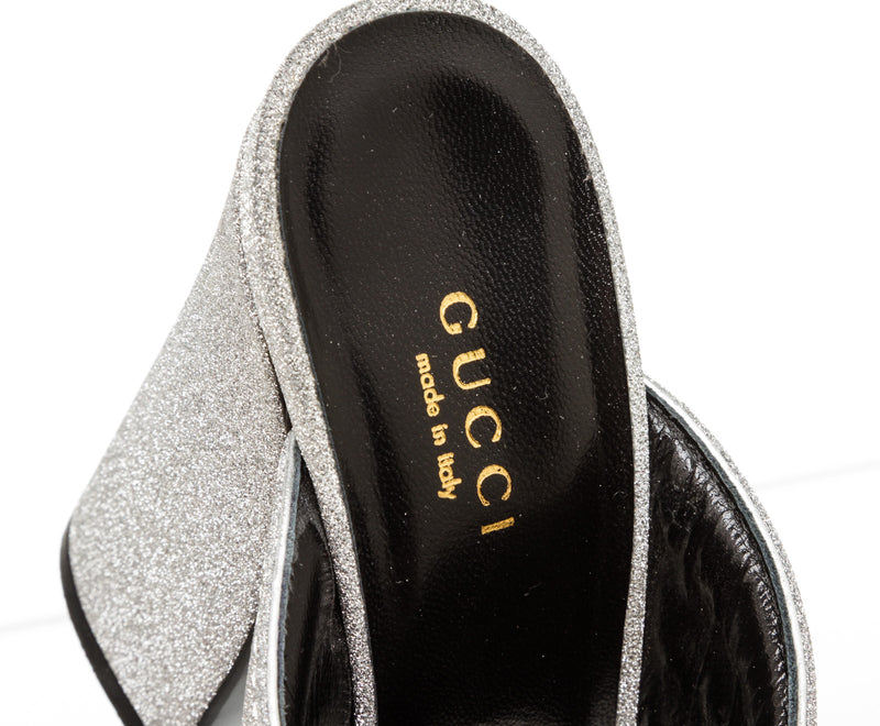 Gucci Silver Webby Metallic Mules Size 36