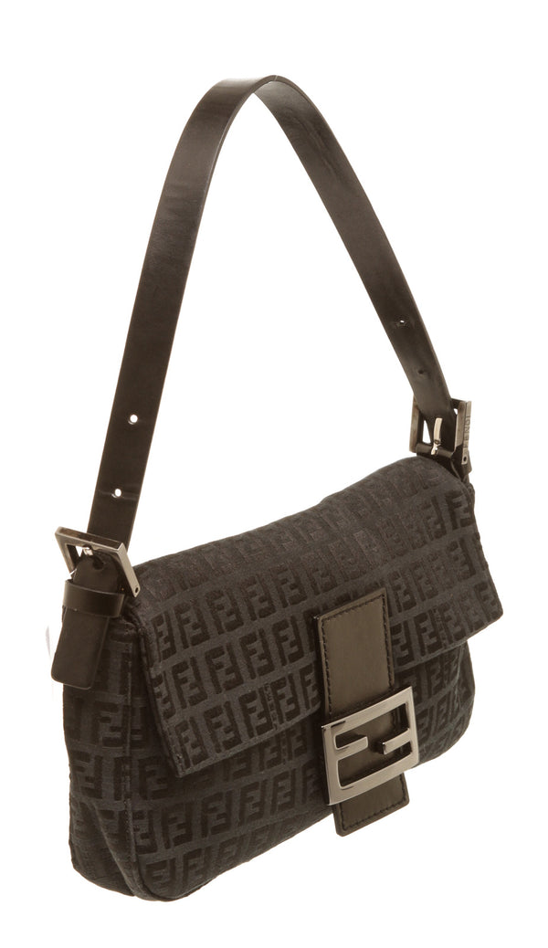 Fendi Black Zucca Baguette Shoulder Bag