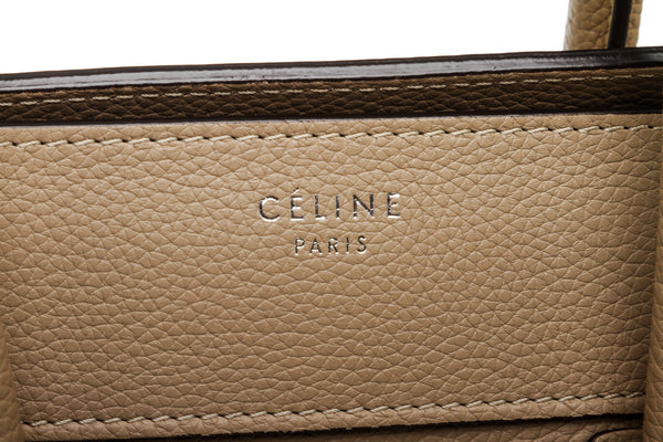 Celine Dune Pebbled Leather Mini Luggage Tote Bag