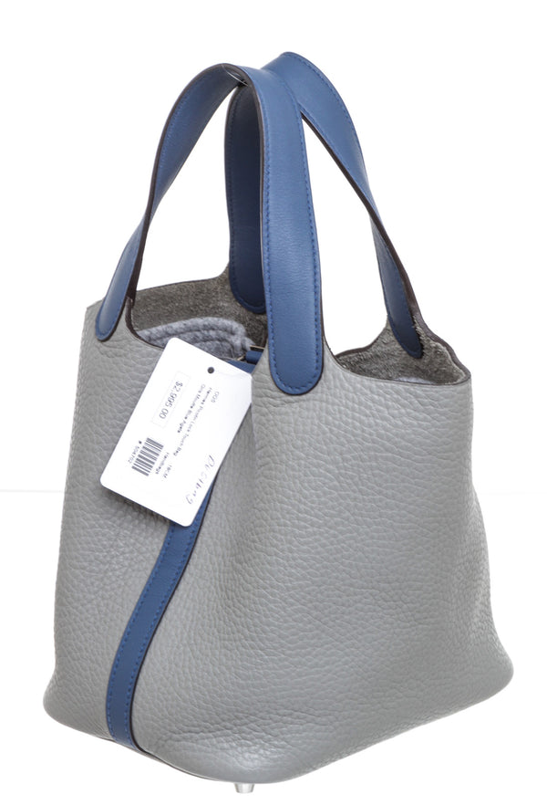 Hermes Gris Moutte & Blue Agate Leather Touch Picotin 18