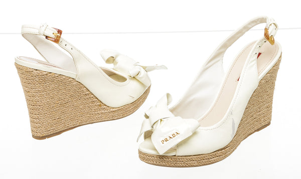 Prada Off White Leather Espadrille Cork Wedge Sandals NEW Size 37