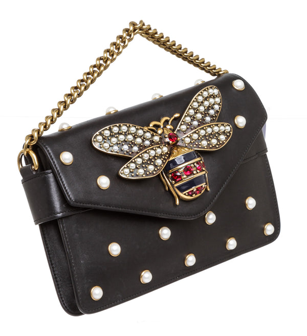 Gucci Black Leather Broadway Bee & Pearl Chain Handle Flap Bag