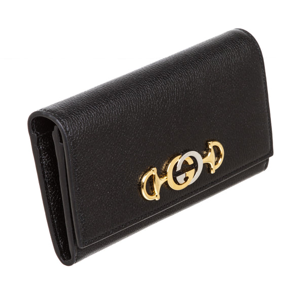 Gucci Black Leather Gold & Silver Interlocking Horsebit Logo Wallet
