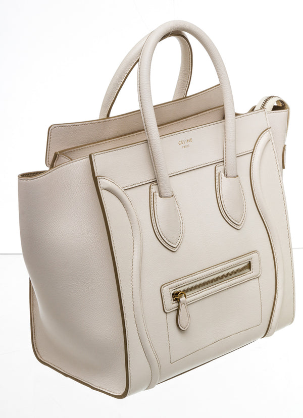 Celine Cream Textured Leather Mini Luggage Tote Bag
