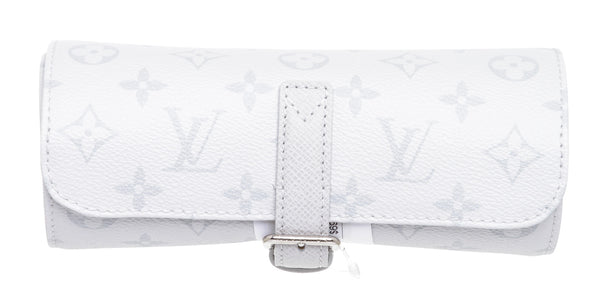 Louis Vuitton White & Gray Monogram Three Watch Travel Case
