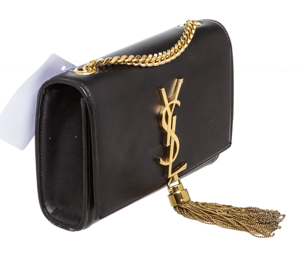 YSL Black Leather Cassandre Tassle Chain Crossbody