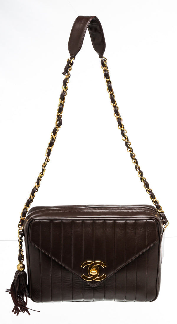 Chanel Vintage Brown Lambskin Mademoiselle Camera Bag