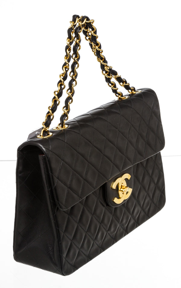 Chanel Vintage Black Lambskin XL Classic Flap Bag