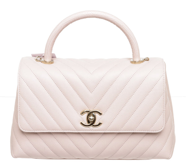 Chanel Pink Caviar Leather Chevron Coco Lizard Top Handle Handbag