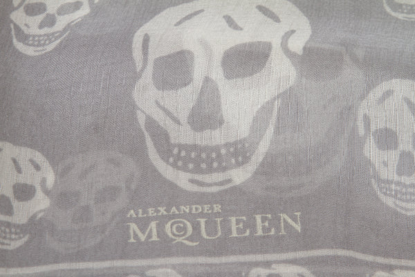 Alexander McQueen Gray And Ivory Silk Skull-Print Shawl Scarf