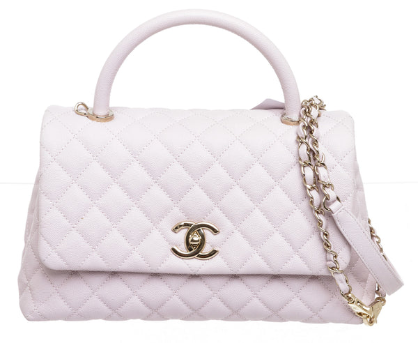 Chanel Lilac Leather Coco Handle Handbag