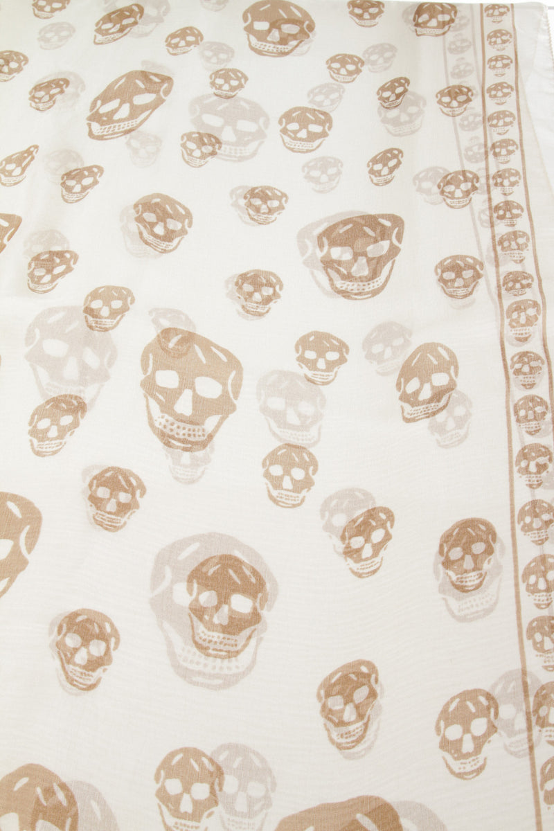 Alexander McQueen Cream And Tan Silk Skull-Print Shawl Scarf