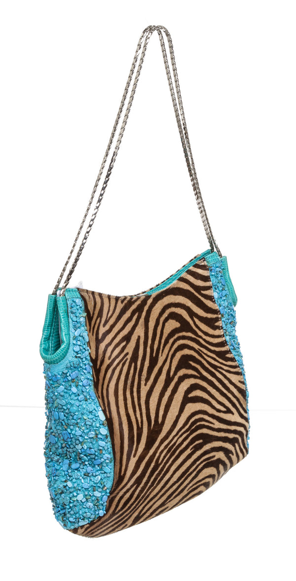 Versace Turquoise & Brown Zebra Pony Hair Hobo Bag