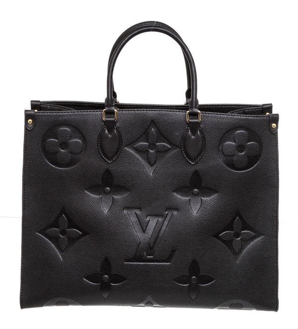 Louis Vuitton Black Leather On The Go Tote
