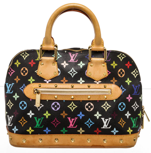 Louis Vuitton Takashi Murakami Black Multicolore Alma Handbag