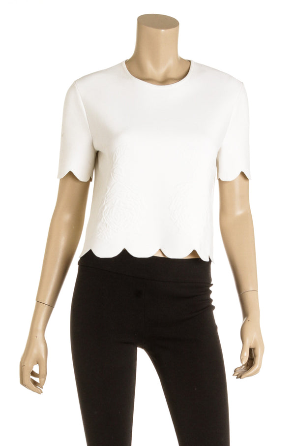Alexander McQueen White Scallop Knit Cropped Top (Size XL)