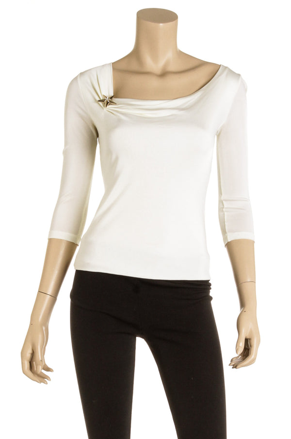 Versace Cream Star Pin 3/4 Sleeve Top Size Small