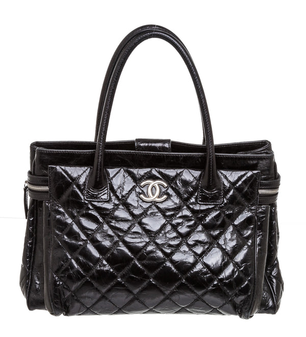 Chanel Black Glazed Calfskin Leather Portobello Tote