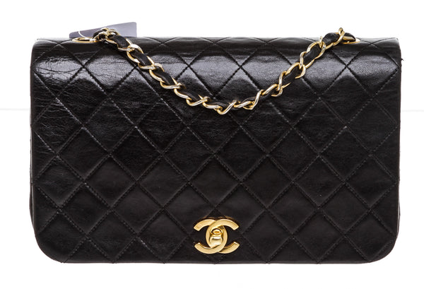 Vintage Chanel Black Leather Full Flap Bag
