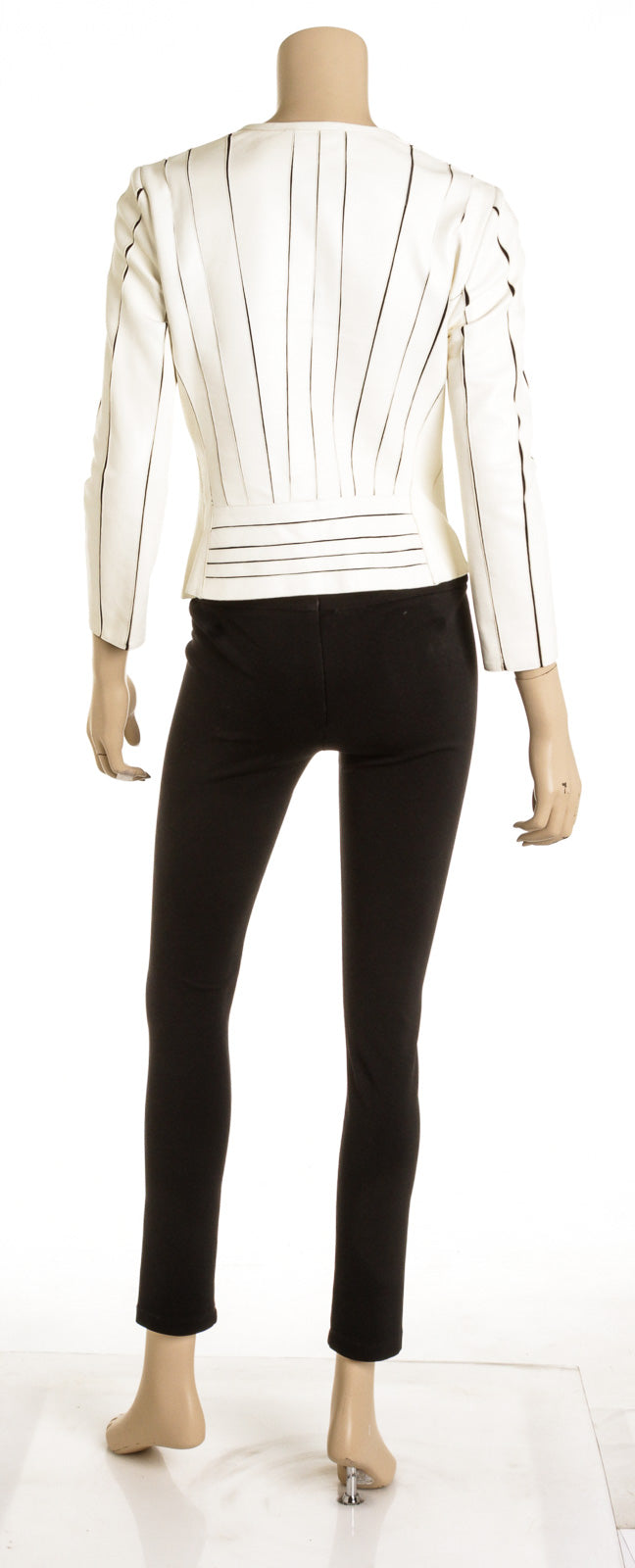 Versace Collection Cream And Black Striped Leather Jacket (Size 46)