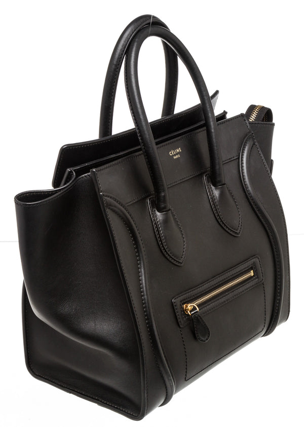 Celine Black Smooth Leather Mini Luggage Tote Bag
