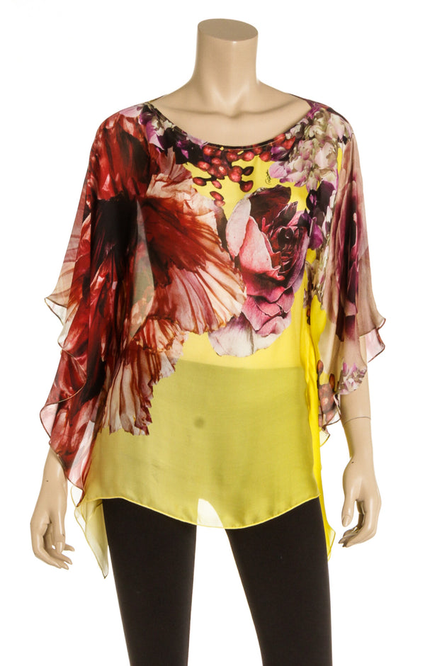 Roberto Cavalli Multicolor Silk Floral Sheer Cover up (Size 38)