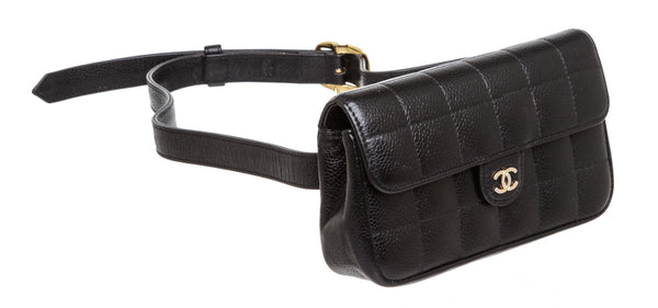 Chanel Black Caviar Leather Chocolate Bar Waist Bag