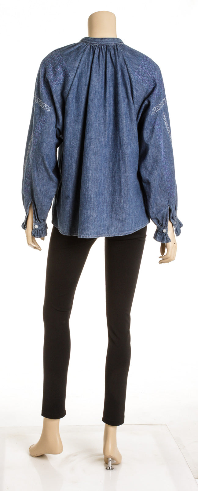 Celine Blue Cotton Denim Tunic Top (Size S)