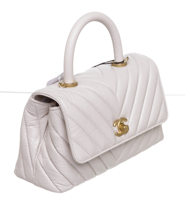 Chanel Cream Chevron Stitched Leather Coco Handle Bag